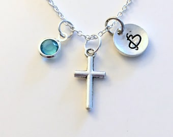 Small Cross Necklace, Silver Religious Jewelry Gift For Her Charm Pendant Religion symbol Birthstone Initial letter girl woman mom grandma