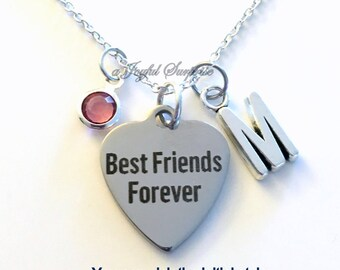 BFF Jewelry Best Friends Forever Necklace Gift for Bridesmaid charm Bridal Personalized Custom Initial Birthstone birthday Christmas present