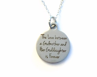 Gift for God Mother Jewelry, The Love between a Godmother and Goddaughter Necklace, Baptism Present Birthstone initial her from Daughter
