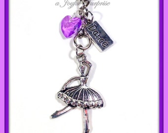 Ballerina Keychain, Ballet Key chain, Gifts for dancer Ballet Keyring, Little Girls Dance Bag Zipper Pull Purse Charm Planner Charm her tag
