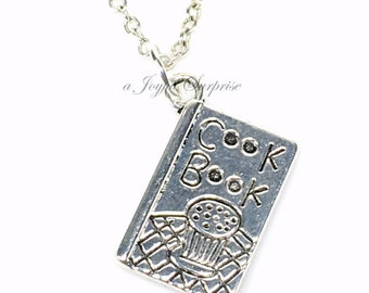 Cookbook Necklace, Chef's Necklace, Cook Book Charm, Baking Jewelry, Baker Gifts, Mother's Day Jewelry, Silver Cooking Pewter Chef birthday