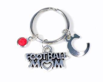 Football Mom Keychain, Foot Ball Mother KeyRing, Silver Key Chain Gift Mum Initial Birthstone Purse charm planner team Momma present her