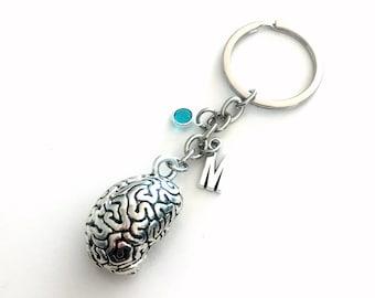 Neuroscience Key Chain, Human Brain KeyChain, Anatomical Keyring, Neurosurgeon Gift for Neurologist Doctor Graduation initial retirement