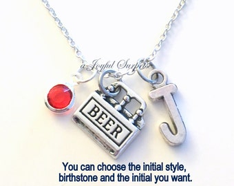 Beer Necklace, Gift for 21st Birthday Present Six Pack Jewelry Charm Boyfriend Personalized Initial food Retirement Man Men Girl Husband Dad