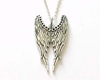 Large Angel Wings Necklace, Guardian Statement Jewelry, Silver Charm Women Pendant Birthday Gift Present 925 Sterling Chain Detailed Two