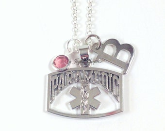 Paramedic Necklace, EMT Jewelry, Silver Charm, Ambulance Driver Gift