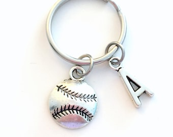 Baseball Keychain, Base Ball Player Key Chain, Gift for Teenager Teenage Teen Boy Girl Softball Team Birthday Present Sport Athlete Initial