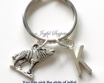 Wolf KeyChain Silver Wolves Keyring Coyote Key chain Animal Gift Personalized Initial Letter birthday present Christmas letter initial Man
