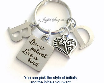 Newly Wed Keychain, Love is patient, Love is kind Key Chain, Fiance Wedding Keyring Anniversary Gift Custom two 2 Initial Personalized wife
