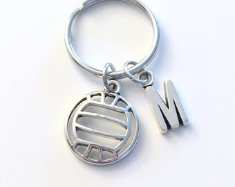 Volleyball Key Chain, Gift for Volley Ball KeyChain Teenager Teenage Teen Boy Girl Initial Team Birthday Present Sport Athlete Jewelry Men