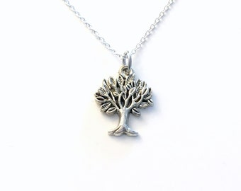 Silver Tree Necklace, Tree Charm Jewelry, Forestry Officer Gift for Conservation Officer Jewelry, Family Love mom Grandmother branch leaves