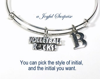 Gift for Volleyball Player, Volley Ball Bracelet Team Teammate, Mom Jewelry Bangle with Initial Birthday Present VB Rocks Teen Girl teenager