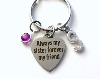 Sister Gift, Sister KeyChain, Always my sister forever my friend Key Chain, BFF Keyring Birthstone Initial Personalized Present for In Law