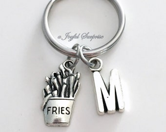 French Fries KeyChain Fast Food Keyring Fry Key chain Junk Food Jewelry charm Custom Initial Boyfriend birthday present Christmas Gift