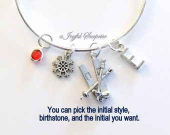 Skier's Bracelet, Gift for Down Hill Skiing Jewelry Ski Pole Cross Country Charm Bangle Silver initial Birthstone Snow Present Snowflake