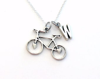 Monogram Bike Necklace, Gift for Cyclist Present, Bicycle Jewelry, Large Silver Bicycle Charm, Custom Triathlon with letter initial
