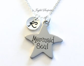 Mermaid Soul Jewelry, Gift for Teenage Girl Necklace, Present from Parents to Daughter, Star Beach Wedding, Swimmer Swim Charm Silver her