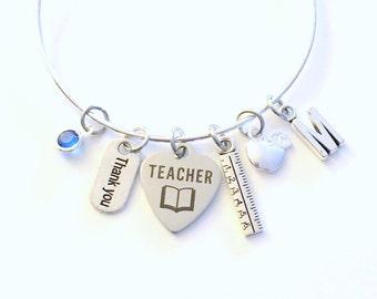 Teacher Jewelry Charm Bracelet Teaching Gift Bangle Student Silver School from Ruler Apple Personalized Initial Birthstone Letter Custom for