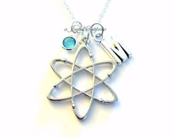 Science Jewelry, Atom Necklace Gift for Scientist Initial Birthstone birthday molecule present Neutron Nucleus Geek Nerd Chemist Chemistry