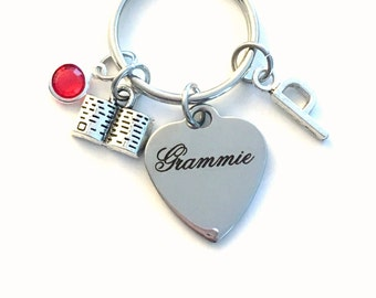 Gift for Grammie KeyChain, Grammy Key Chain, Grandmother Keyring Jewelry Initial Birthstone present women her mom bible charm birthday woman