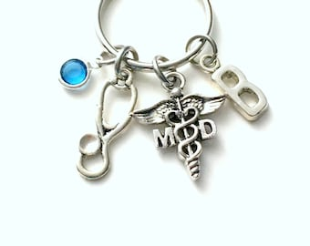 Gift for MD Keychain, Medical Doctor Key Chain, Stethoscope General Practitioner Family Dr Keyring Letter women Birthstone Initial him men