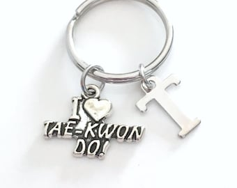Tae Kwon Do KeyChain I love Tae Keyring Judo Key chain Jewelry charm Personalized Initial Birthstone birthday present Christmas Gift Man Men