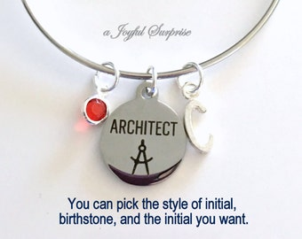 Architect Bracelet, Architect Silver Charm Bangle gift for Architect Student Gift Jewelry Architect graduation Gift letter birthstone custom