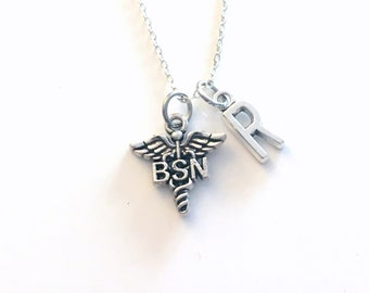 BSN Necklace, Gift for Bachelor of Science in Nursing Nurse Jewelry, Silver Caduceus Charm Personalized for birthday present for men women