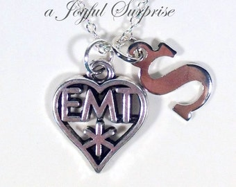 EMT Necklace, Gift for Paramedic EMT Jewelry, Ambulance Attendant Emblem Medical Symbol heart charm with Initial letter man men Graduation