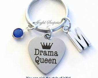 Drama Queen Keychain, Drama Key Chain Actress Gift Keyring Gift for Girlfriend Sister Daughter Birthday Present Christmas initial birthstone