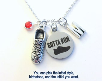 Gotta Run Necklace, Runner's Jewelry, Sneaker Running Shoe charm Marathon Athlete Personalized Initial Birthstone birthday Christmas present