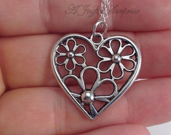 Heart Necklace, Daisy Jewelry, Heart Jewelly, Silver Charm Valentines Day Gift Heart Pendant Pewter with Daisies Long Short Chain Gift 68