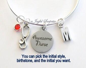 Awesome Nurse Bracelet Gift for Nurse Jewelry Stethoscope Nursing Student Charm Bangle Silver initial Birthstone Birthday Present Christmas