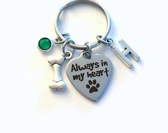 Loss of Dog Keychain, Always in my heart Key Chain, Doggie Keyring, Gift for Sympathy Letter initial pet Birthstone Initial Present Jewelry
