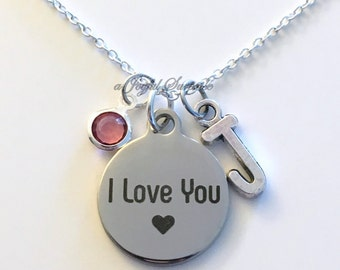 I love you Jewelry, Love Necklace, Gift for Wife, Mother Girlfriend Mom charm Initial Birthstone birthday Christmas present stainless steel