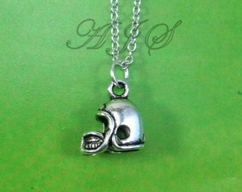 Helmet Necklace, Gift for Football Player Jewelry, Rugby Football Foot Ball Silver Charm Metal Christmas Present Man Boy Men Girl 116