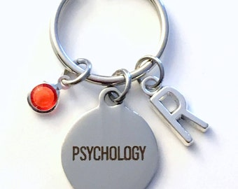 Gift for Psychology KeyChain, Psychologist Key Chain, Present Keyring Charm Planner Initial Birthstone therapy women her him men jewelry man