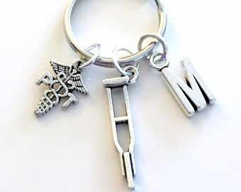 Physical Therapist Gift for PT Keychain, Thank you Keyring, Therapy Key Chain Symbol Emblem Initial crutch Birthday Gift Christmas present