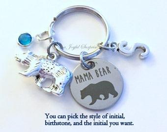 Mama Bear KeyChain / Gift for Mother's Day Present / Mom Keyring / Animal Key chain / Mamma Jewelry / Birthday present Christmas