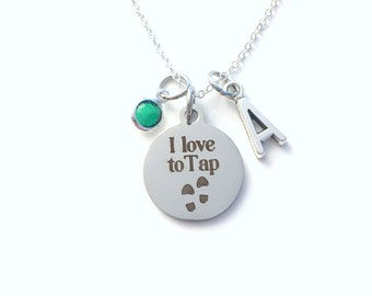 Gift for Tap Dancers Jewelry, I love to Tap Necklace, Dance Tapper Present, Shoe Click Mark her him women men Boy Girl Teen Canadian Seller