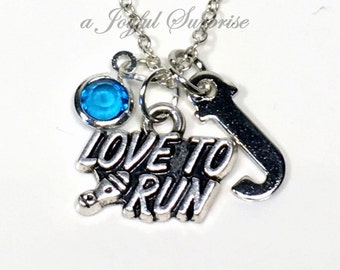 Love to Run Necklace, Silver Running Jewelry Pendant Gift for Marathon Runner Present Athlete Jewelry Personalized Initial Birthstone letter