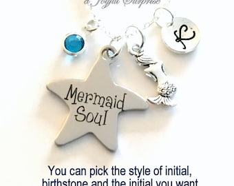 Mermaid Soul Necklace, Mermaid Jewelry, Best Friend Gift Silver Charm Beach Wedding initial birthstone Personalized Teen Teenage daughter 45