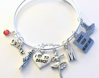 Dance Bracelet, Gift for Dancer Jewelry, Charm Bangle Ballet Ballerina Lyrical Contemporary I love to dance Jazz Birthstone Initial Present