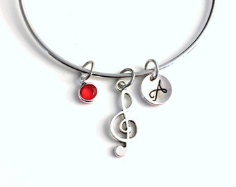 Music Charm Bracelet Bangle Jewelry, Gift for Band Student Present, Musician Treble Note Silver Initial birthstone Teenager birthday her