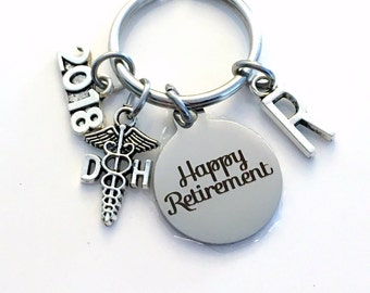 Retirement Gift for DH Keychain 2017 2018 Caduceus Dental Hygienist Assistant Key chain Keyring Retire Coworker Initial letter 2016 Dentist