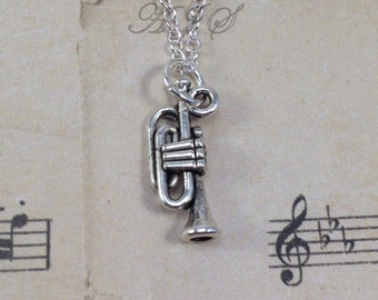 Trumpet Necklace, Gift for Trumpet Player Jewelry Silver Charm Band Instrument Pewter Pendant Birthday Christmas Present Marching Music 115#