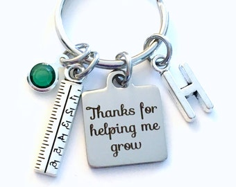 Teacher Thank you Gift for Kindergarden Keychain, Thanks for helping me grow Key chain Keyring, Birthday Present Initial custom letter ruler