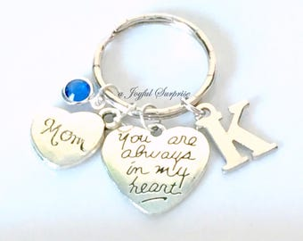 Heart Keychain, Gift for Mom, Sister Aunt Daughter Grandma, Niece Goddaughter You are always in my Silver key chain Valentine's Day present