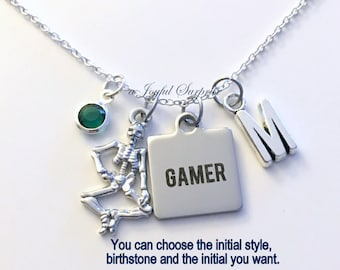 Gamer Necklace, Gift for Skeleton Jewelry  BFF Friend Halloween Bones Charm Custom Personalized Initial Birthstone Seller in PEI Canada shop
