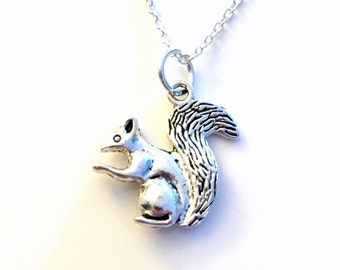 Squirrel Necklace, Gift for Chipmunk Jewelry Chip Munk Animal Silver charm Son Grandson Nephew present Short Long Chain Sterling Girl Woman